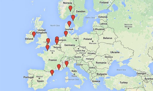 Map for Shipping Motorcycle to Europe Ports