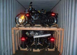container motorcycle loading