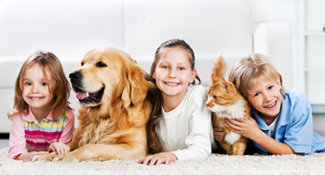 kids with dog and cat on floor ready to move