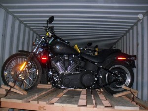 Image of motorcycle shipping in containers by Schumacher Cargo Logistics