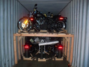 Image of multiple motorcycle container loading by Schumacher Cargo Logistics