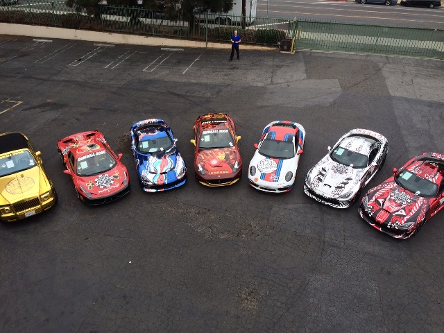 overhead view gumball cars