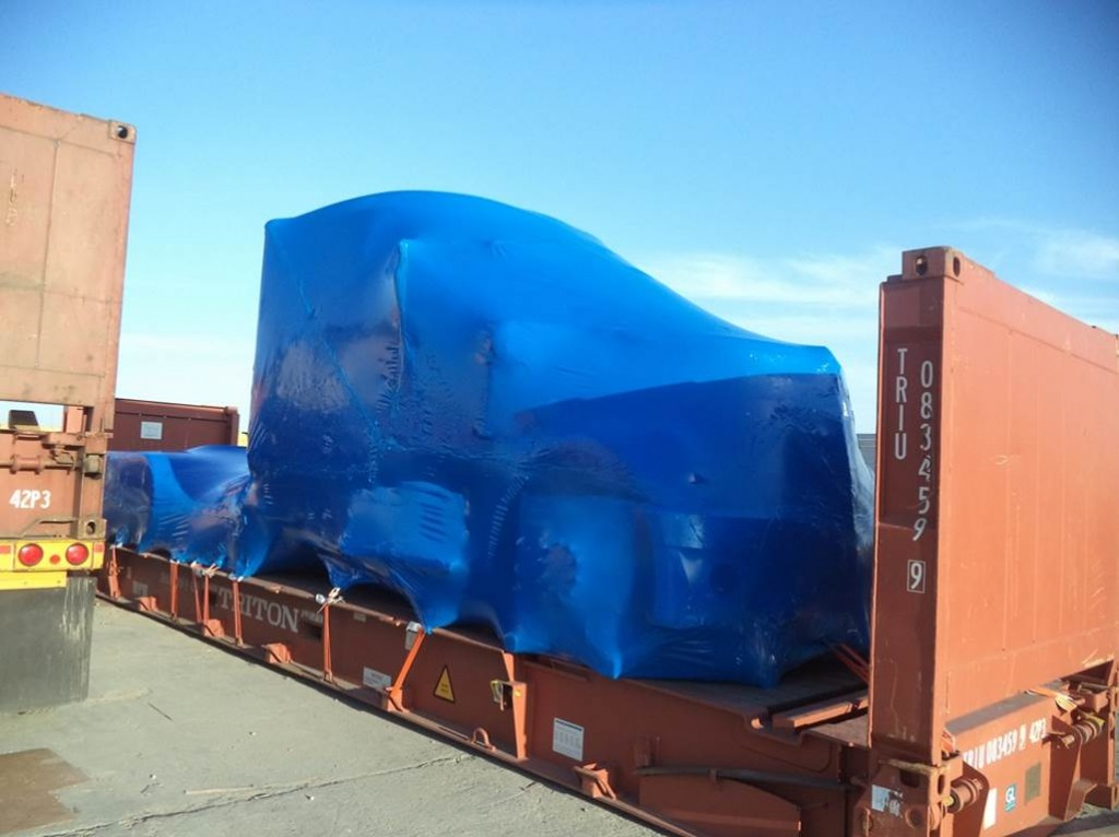 fully shrink wrapped semi