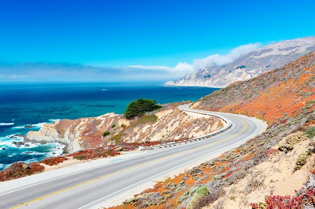 Coastal Road Empty Mountainside Ocean