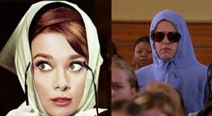 Audrey Hepburn in a headscarf