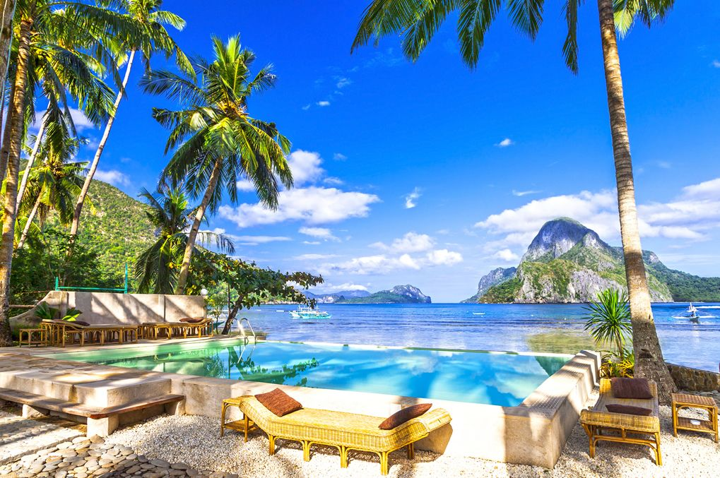 beachfront pool and relaxation in the Philippines