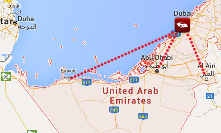 Car Shipping to UAE Map of the United Arab Emirates