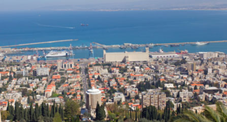 Haifa, Israel with view of shipping port
