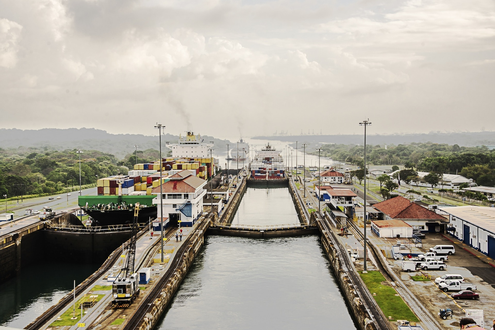 The Panama Canal opening for ships to enter