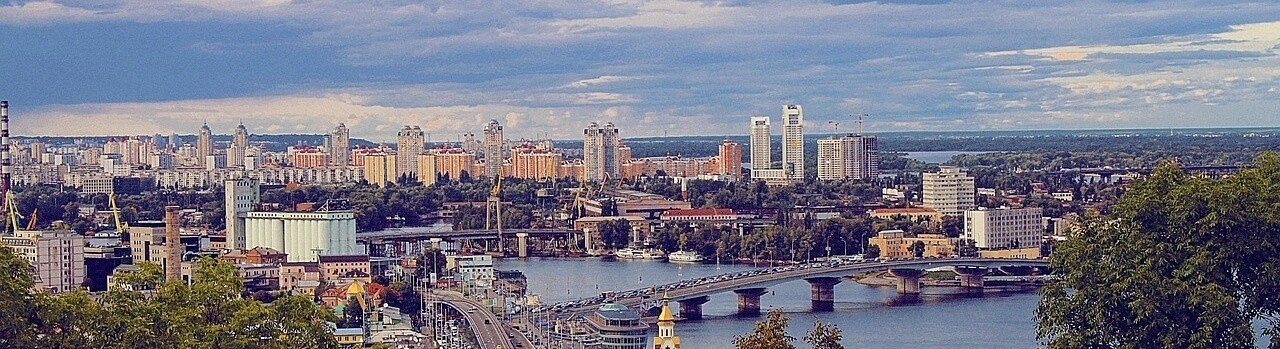 Moving to Ukraine Kiev River Panorama Skyline Town