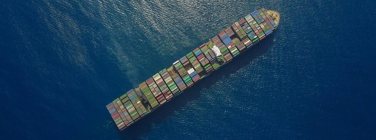 International Container Shipping Cargo Ship On Ocean