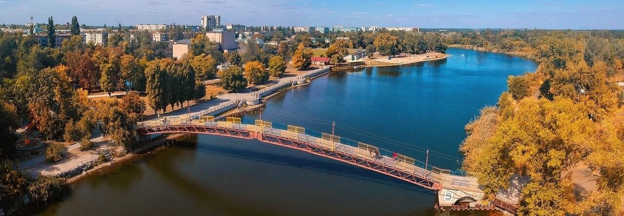 Shipping to Ukraine Autumn River Bridge