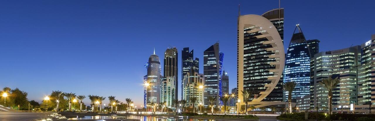 Living in Qatar Doha City Skyline at Night