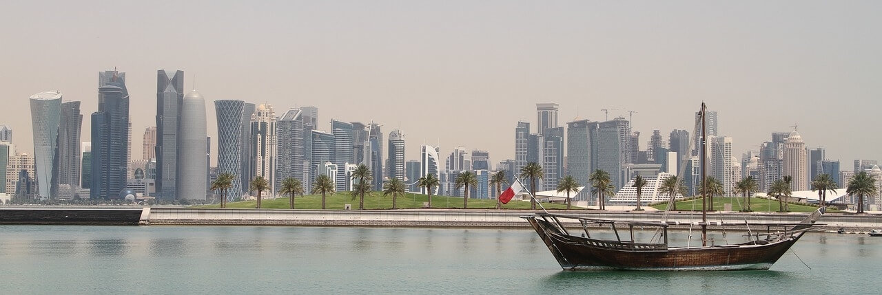 Moving to Qatar Doha City Skyline Boat by Water