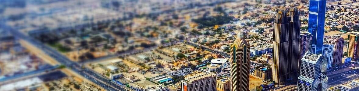 Living in UAE Dubai Mini City Over the Top Cityscape
