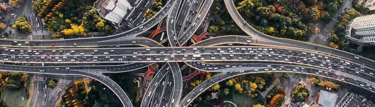 open car transport freeway top down on ramps